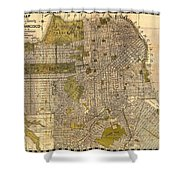 Antique Map Of San Francisco 1932 Shower Curtain