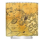 Antique Map Of The Battles Of Lexington And Concord 1775 Shower Curtain