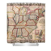 Antique Map Of The United States 1848 Shower Curtain