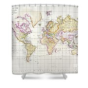 Antique Map Of The World Shower Curtain by James The Elder Wyld