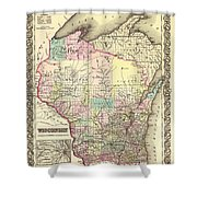Antique Map Of Wisconsin 1855 Shower Curtain
