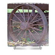 Antique Metal Wheel Shower Curtain