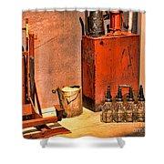 Antique Oil Bottles Shower Curtain
