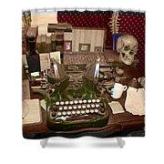 Antique Oliver Typewriter On Old West Physician Desk Shower Curtain