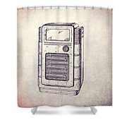 Antique Phonograph Cabinet Patent Shower Curtain