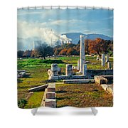 Antique Pillars And Power Plant Megalopoli Greece Shower Curtain