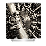 Antique Plane Engine Shower Curtain