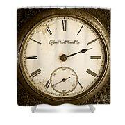 Antique Pocket Watch Shower Curtain