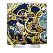 Antique Pocket Watch Gears Shower Curtain by Garry Gay
