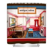Antique Salon - Colonial Red And Blue Shower Curtain