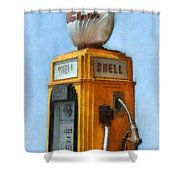 Antique Shell Gas Pump Shower Curtain