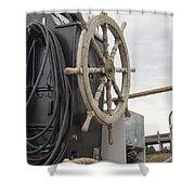 Antique Ship Steering Wheel Shower Curtain