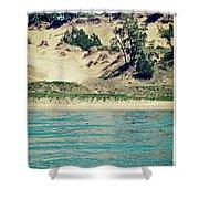 Antique Snapshot Series - Dunes On Lake Michigan Shower Curtain
