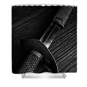 Antique Sword Black And White Shower Curtain