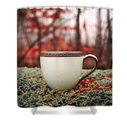 Antique Teacup In The Woods Shower Curtain by Edward Fielding
