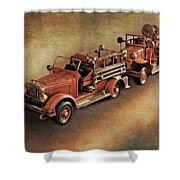 Antique Toy Fire Trucks Shower Curtain