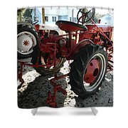 Antique Tractor Hiding In The Shadows Shower Curtain