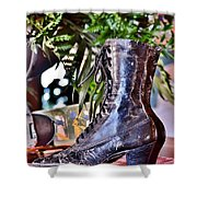 Antique Victorian Boots At The Boardwalk Plaza Hotel - Rehoboth Beach Delaware Shower Curtain