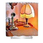 Antique Victorian Desk At The Boardwalk Plaza - Rehoboth Beach Delaware Shower Curtain