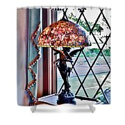 Antique Victorian Lamp At The Boardwalk Plaza - Rehoboth Beach Delaware Shower Curtain
