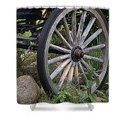Antique Wagon Wheel  Shower Curtain