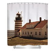 Antique West Quoddy Lighthouse Shower Curtain