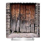 Antique Wood Door Damaged Shower Curtain