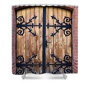 Antique Wooden Door Shower Curtain