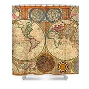 Antique World Map In Hemispheres 1794 Shower Curtain