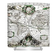 Antique World Map Poster Shower Curtain