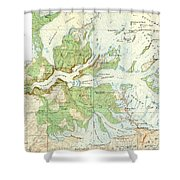 Antique Yosemite National Park Map Shower Curtain