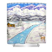 Antlers And Snow Shower Curtain