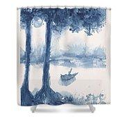 Antwerp Blue Landscape Watercolor Shower Curtain