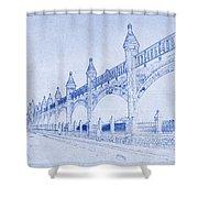 Antwerp Railway Bridge Blueprint Shower Curtain