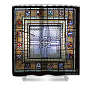 Anzac Day 2014 Auckland War Memorial Museum Stained Glass Roof Shower Curtain