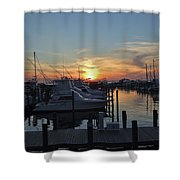 Apalachicola Marina At Sunset Shower Curtain
