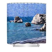 Aphrodites Rock Cyprus Shower Curtain