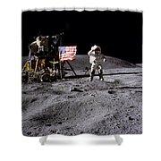 Apollo 16 Lunar Landing Astronaut Young Shower Curtain
