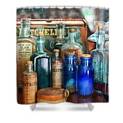 Apothecary - Remedies For The Fits Shower Curtain by Mike Savad