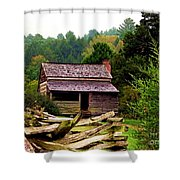 Appalachian Cabin With Fence Shower Curtain
