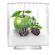 Apple And Blackberries Shower Curtain