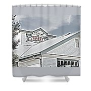 Apple Barn Winery Sign In Grayscale Shower Curtain