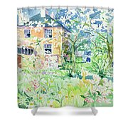 Apple Blossom Farm Shower Curtain by Elizabeth Jane Lloyd