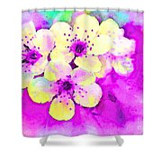 Apple Blossoms In Magenta -  Digital Paint Shower Curtain