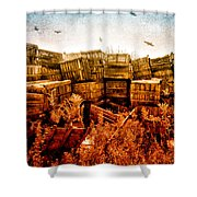 Apple Crates And Crows Shower Curtain by Bob Orsillo