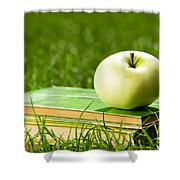Apple On Pile Of Books On Grass Shower Curtain