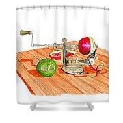 1909 Vintage Apple Peeler Hand Crank Shower Curtain