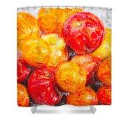 Apple Tangerine And Oranges Shower Curtain