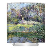 Apple Tree And Crescent Moon Shower Curtain