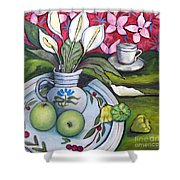 Apples And Lilies Shower Curtain